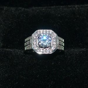 S925 silver filled white sapphire ring